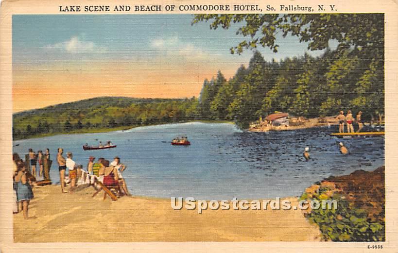 Lake Scene and Beach of Commodore Hotel - South Fallsburg, New York NY Postcard