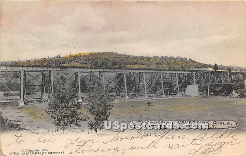 Crossing Neversink River - South Fallsburg, New York NY Postcard