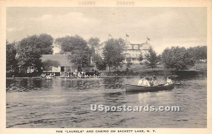 Laurels and Casino - Sackett Lake, New York NY Postcard