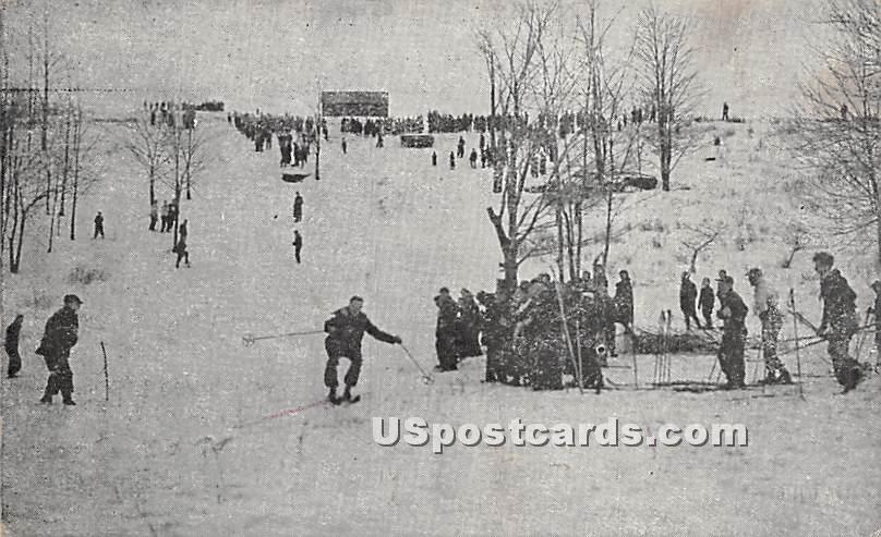 Skiing at Laurels Country Club - Sackett Lake, New York NY Postcard