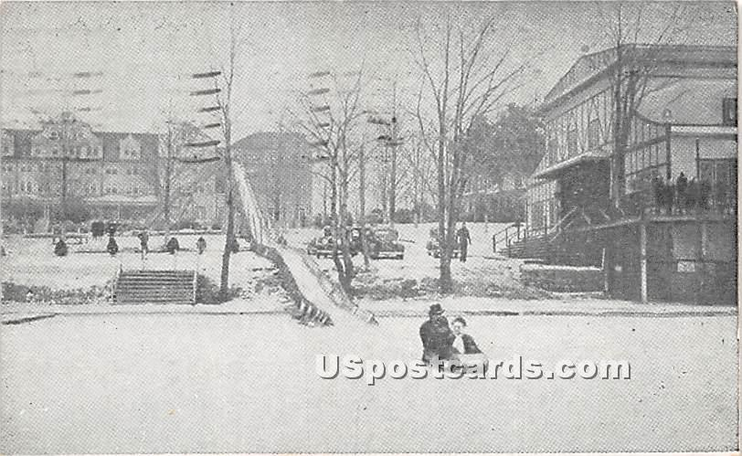Toboggan Slide with Main House in Background - Sackett Lake, New York NY Postcard