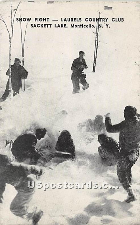 Snow Fight - Sackett Lake, New York NY Postcard