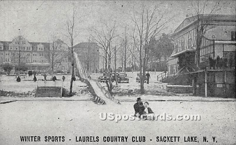 Winter Sports - Sackett Lake, New York NY Postcard