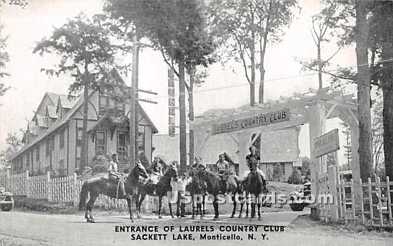 Entrance to Laurels Country Club - Sackett Lake, New York NY Postcard