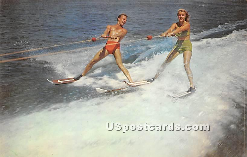 Water Skiing - Sackett Lake, New York NY Postcard