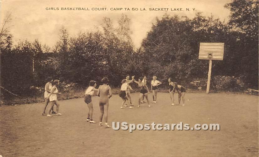 Girls Basketball Court - Sackett Lake, New York NY Postcard