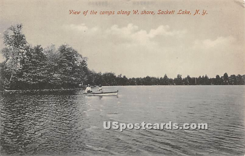 Camps along West Shore - Sackett Lake, New York NY Postcard