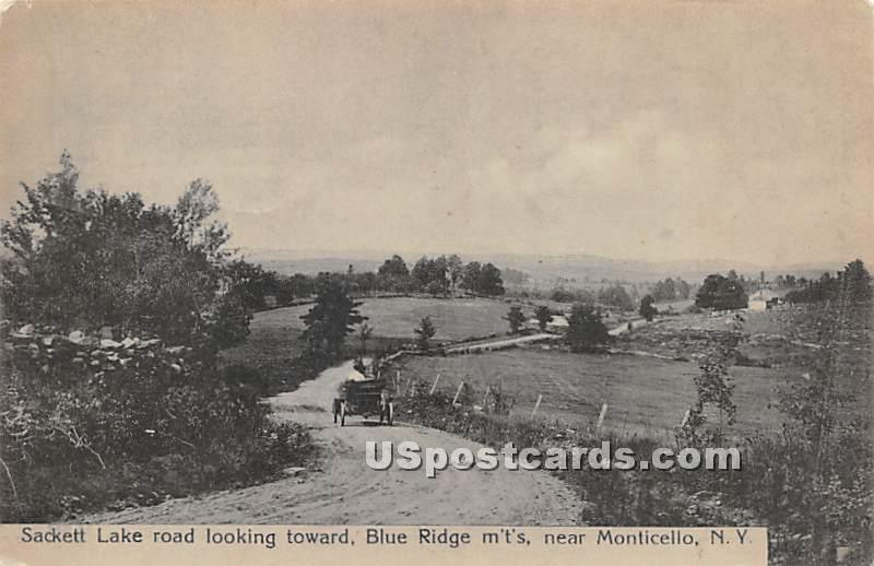 Sackett Lake Road looking toward Blue Ridge Mountains - New York NY Postcard