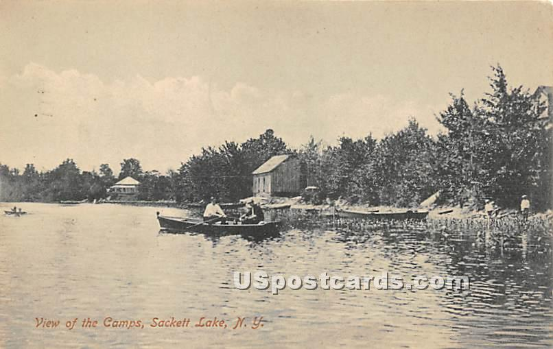 View of the Camps - Sackett Lake, New York NY Postcard