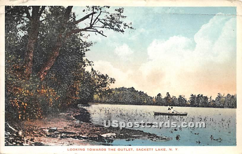Looking Toward the Outlet - Sackett Lake, New York NY Postcard