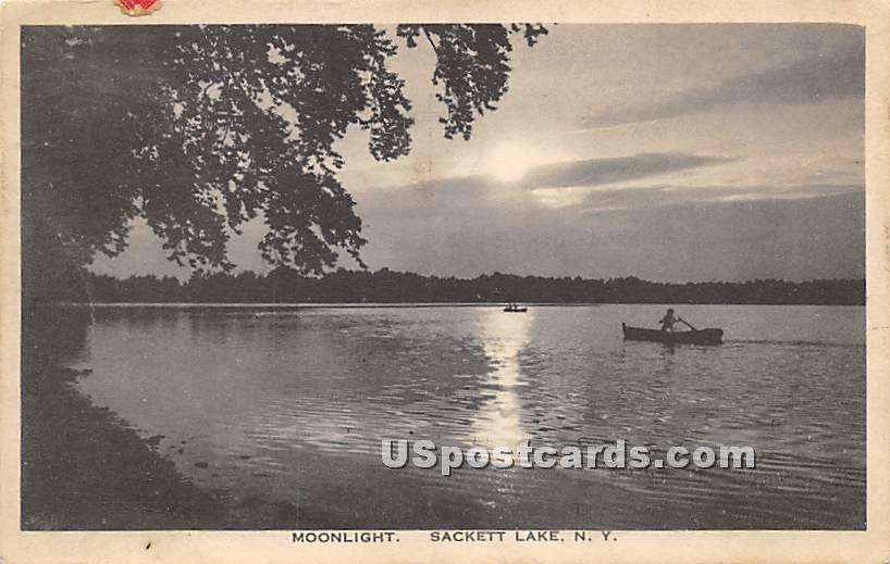 Moonlight - Sackett Lake, New York NY Postcard