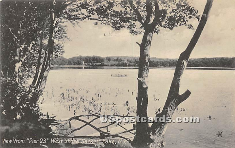 View from Pier 23 - Sackett Lake, New York NY Postcard