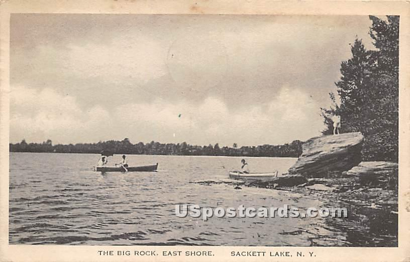 Big Rock - Sackett Lake, New York NY Postcard