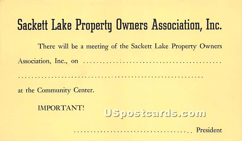 Sackett Lake Property Owners Association Inc - New York NY Postcard