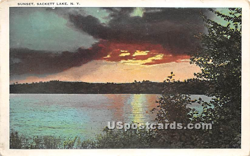 Sunset - Sackett Lake, New York NY Postcard