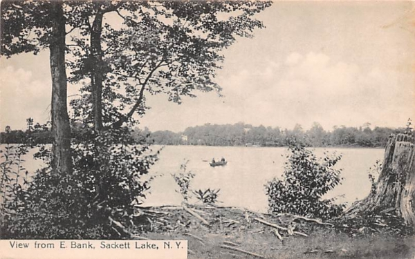 From E Bank Sackett Lake, New York Postcard