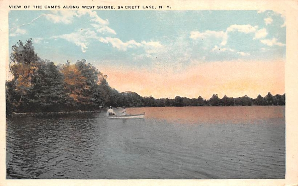 Camps along West Shore Sackett Lake, New York Postcard