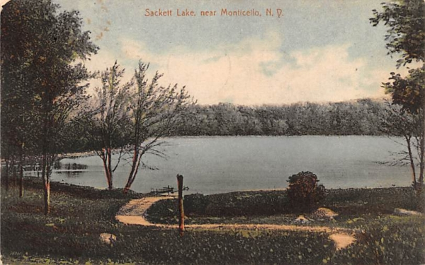 Water View Sackett Lake, New York Postcard