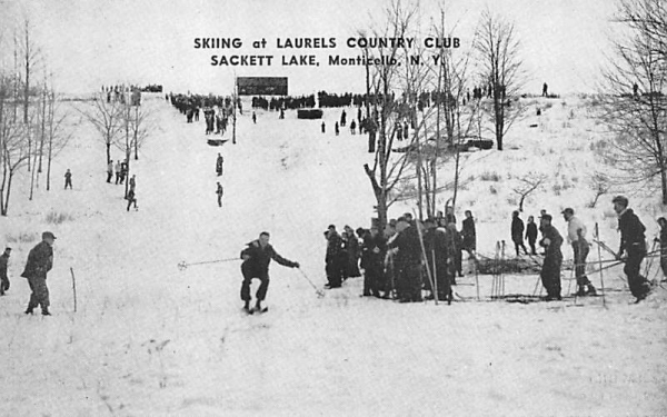 Skiing at Laurels Country Club Sackett Lake, New York Postcard