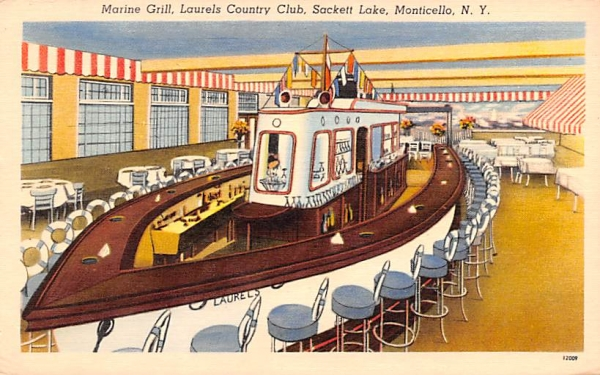 Marine Grill Sackett Lake, New York Postcard