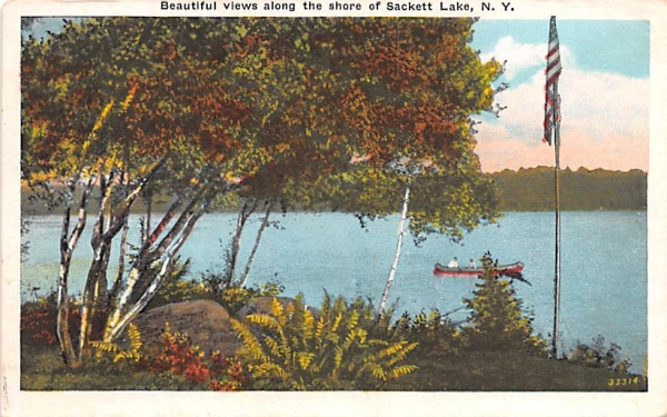Along the Shore Sackett Lake, New York Postcard