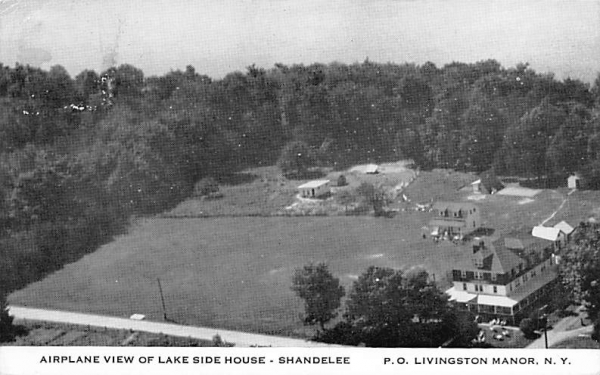 Airplane View of Lake Side House Shandelee, New York Postcard
