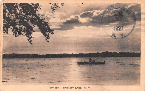 Sunset Sackett Lake, New York Postcard