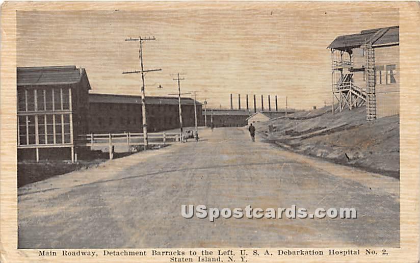 Main Roadway, Detachment Barracks - Staten Island, New York NY Postcard