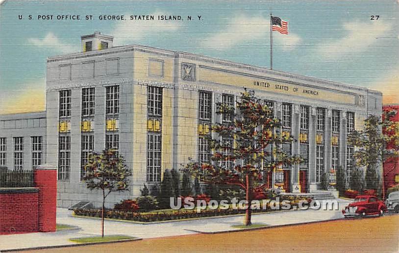 US Post Office, St George - Staten Island, New York NY Postcard