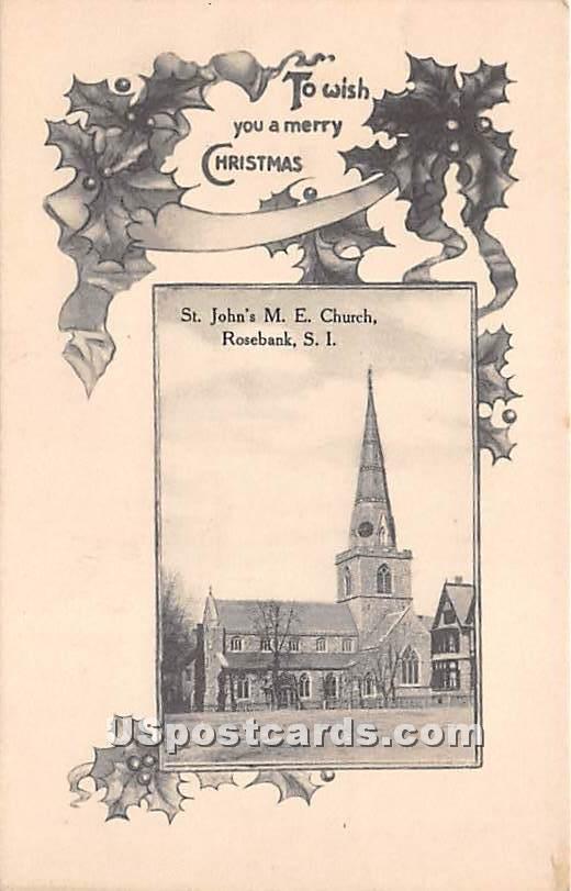 St John's ME Church, Rosebank - Staten Island, New York NY Postcard