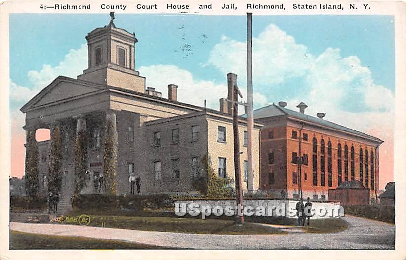 Richmond County Court House & Jail - Staten Island, New York NY Postcard