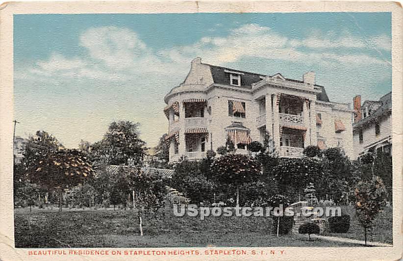 Residence on Stapleton Heights - Staten Island, New York NY Postcard