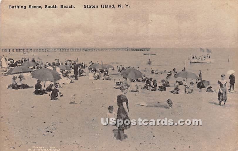 Bathing Scene - Staten Island, New York NY Postcard