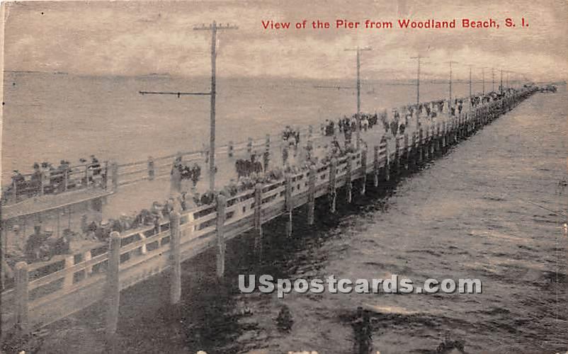 Pier, Woodland Beach - Staten Island, New York NY Postcard