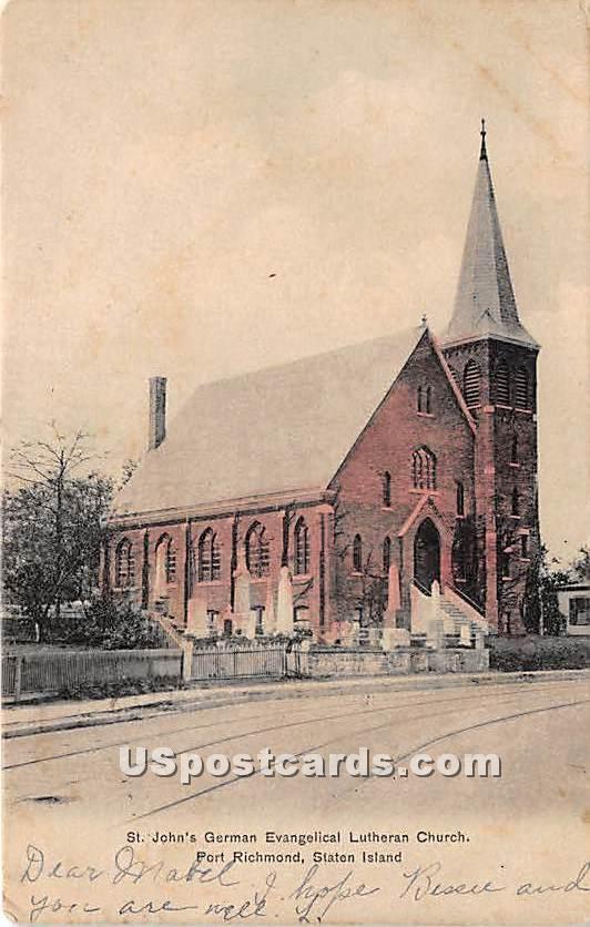 St John's German Evangelical Lutheran Church - Staten Island, New York NY Postcard