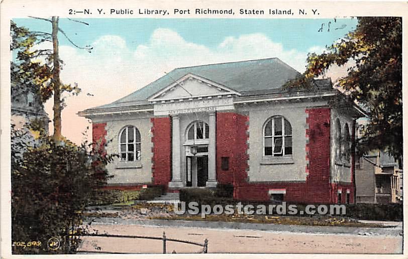 NY Public Library - Staten Island, New York NY Postcard