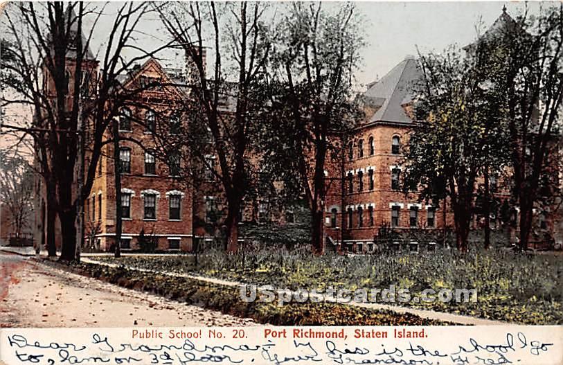 Public School No 20, Port Richmond - Staten Island, New York NY Postcard