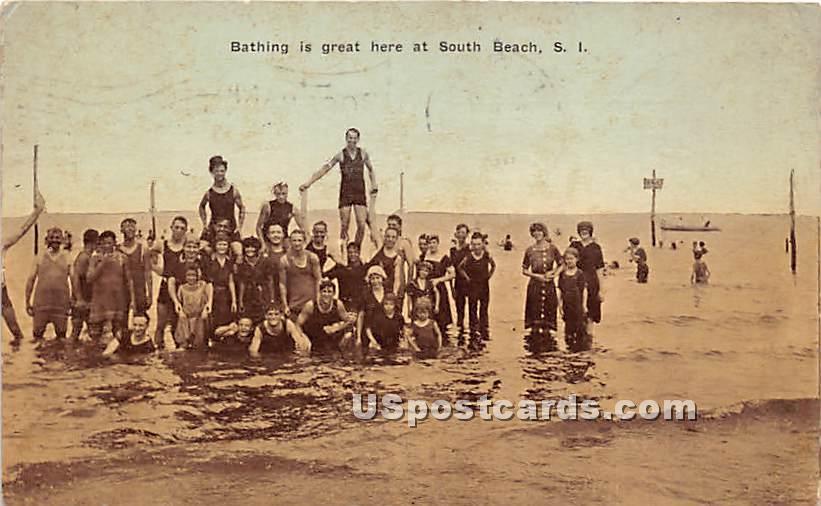 Bathing, South Beach - Staten Island, New York NY Postcard