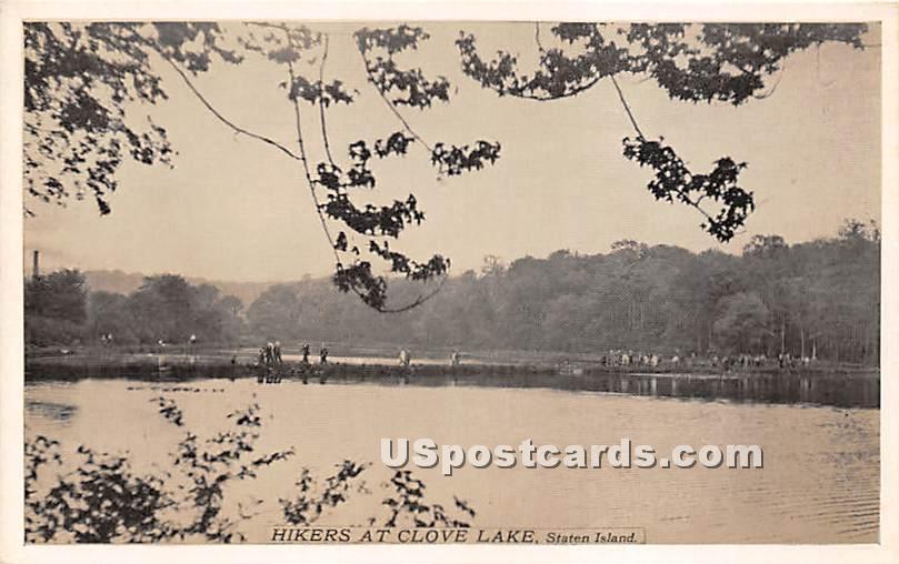 Hikers, Clove Lake - Staten Island, New York NY Postcard