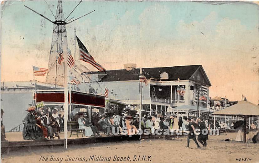 Busy Section, Midland Beach - Staten Island, New York NY Postcard