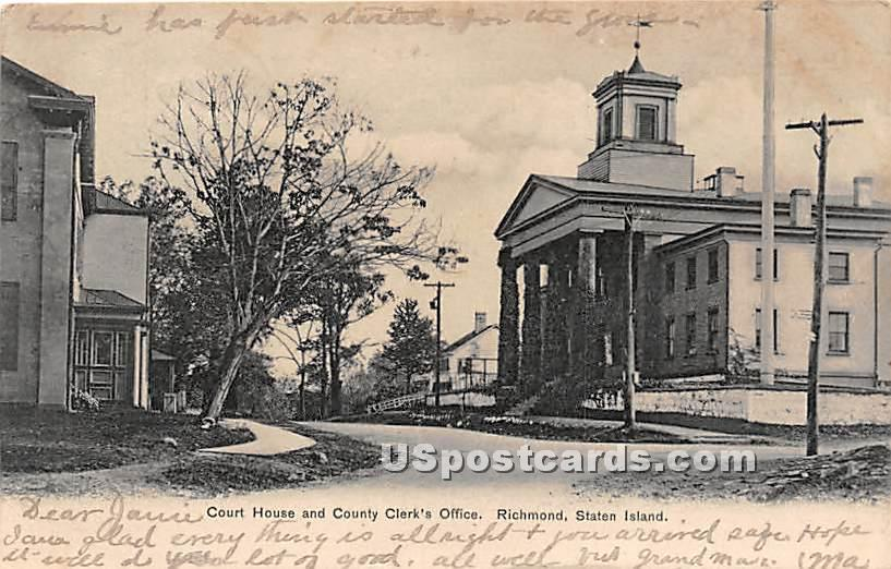 Court House & County Clerk's Office - Staten Island, New York NY Postcard