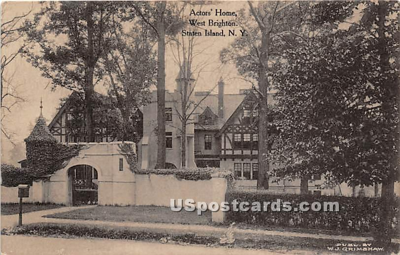 Actors' Home, West Brighton - Staten Island, New York NY Postcard