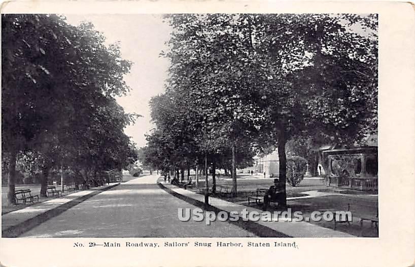 Main Roadway, Sailors' Snug Harbor - Staten Island, New York NY Postcard