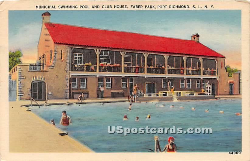 Municipal Swimming Pool, Faber Park - Staten Island, New York NY Postcard
