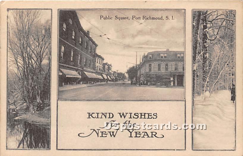 Public Square, Port Richmond - Staten Island, New York NY Postcard