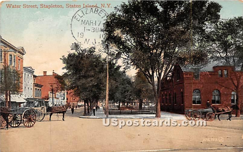 Water Street, Stapleton - Staten Island, New York NY Postcard