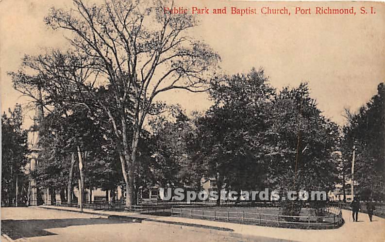 Public Park & Baptist Church - Staten Island, New York NY Postcard