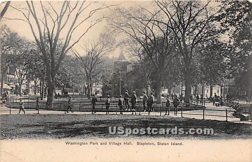 Washington Park & Village Hall - Staten Island, New York NY Postcard