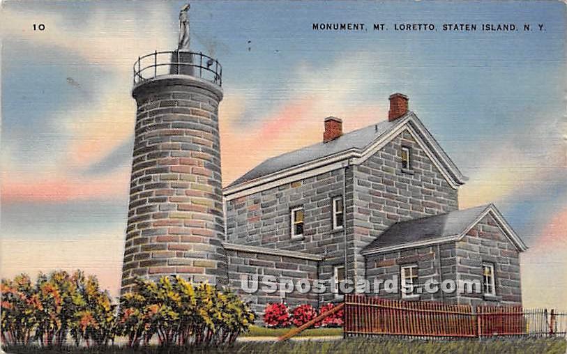 Monument, Mt Loretto - Staten Island, New York NY Postcard