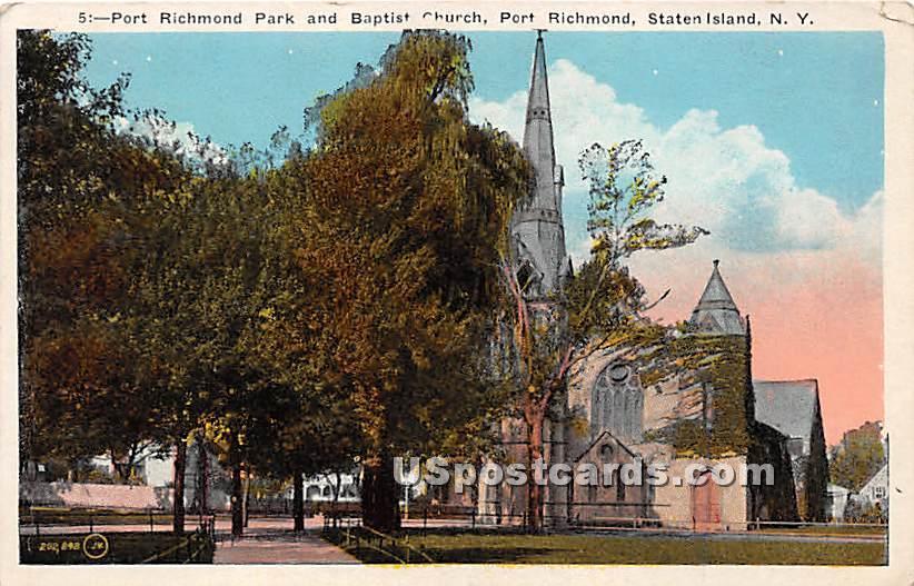 Port Richmond Park & Baptist Church - Staten Island, New York NY Postcard